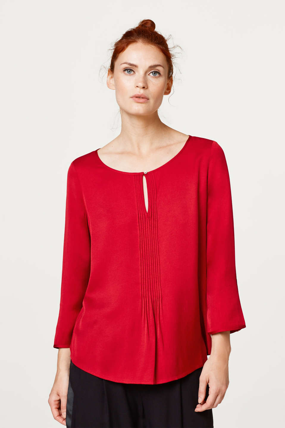Esprit - Shimmering blouse with decorative pintucks