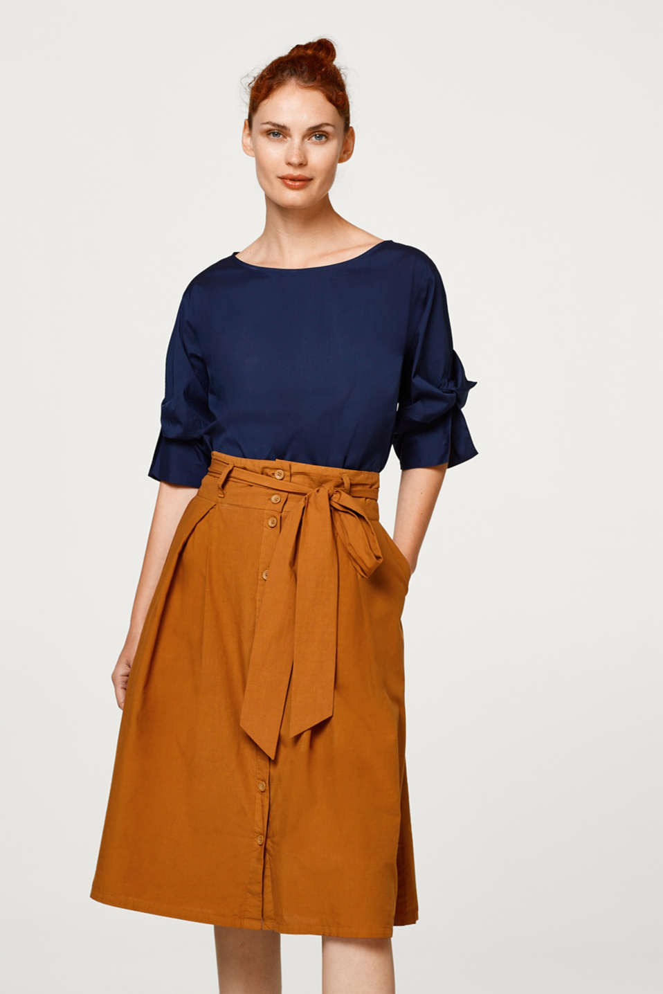 Esprit - Blouse with draped three-quarter length sleeves