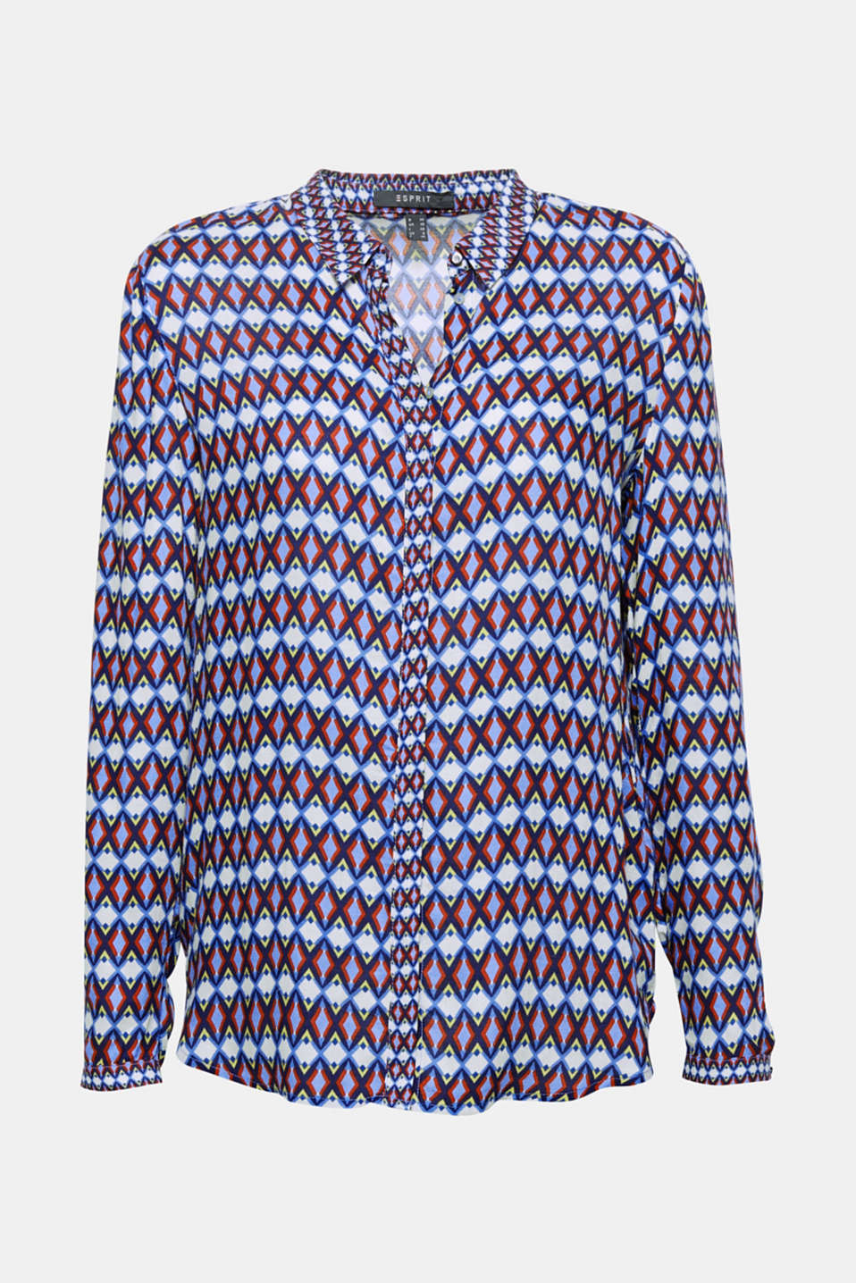 A material and pattern dream team: wonderfully soft viscose crêpe perfectly showcases the colourful geometric print of this casual shirt blouse!