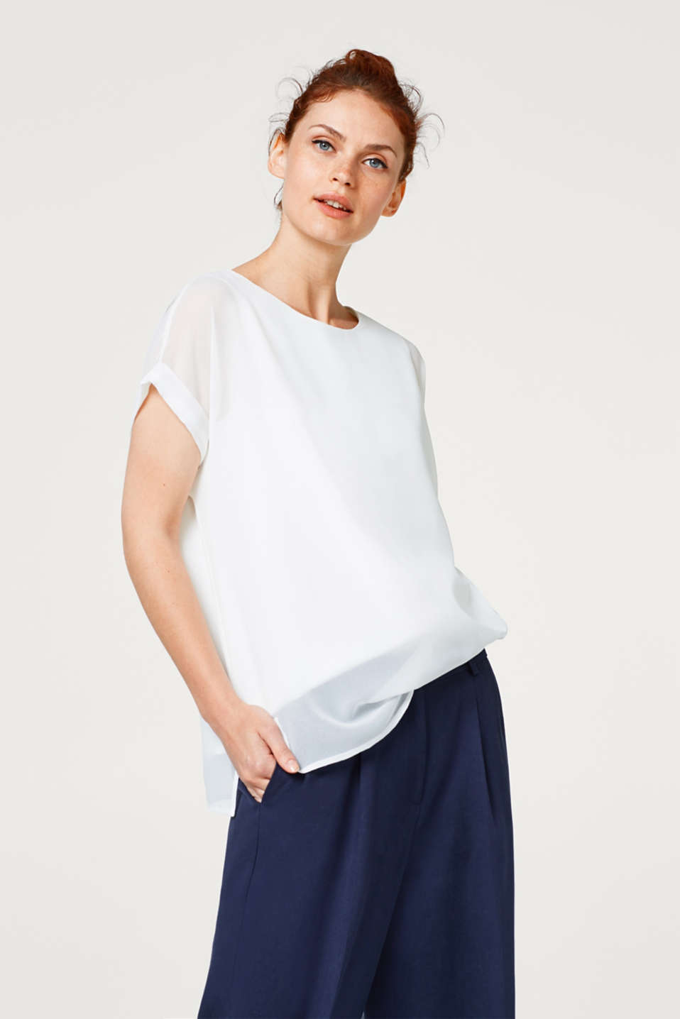 Esprit - Transparent crêpe blouse with a layered effect
