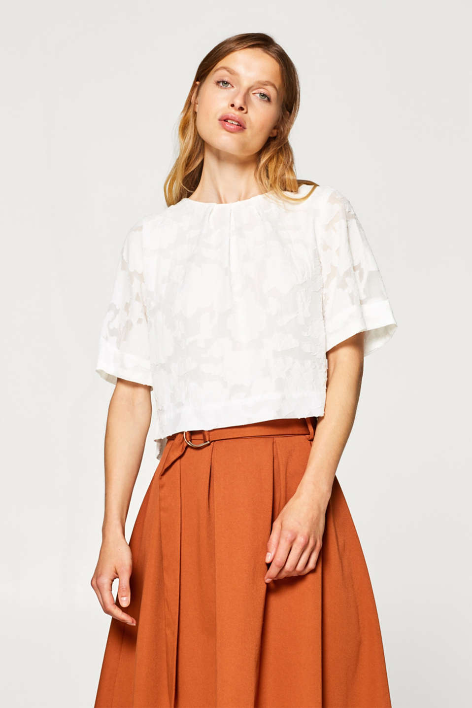 Esprit - Boxy cropped blouse top with a burnt-out pattern