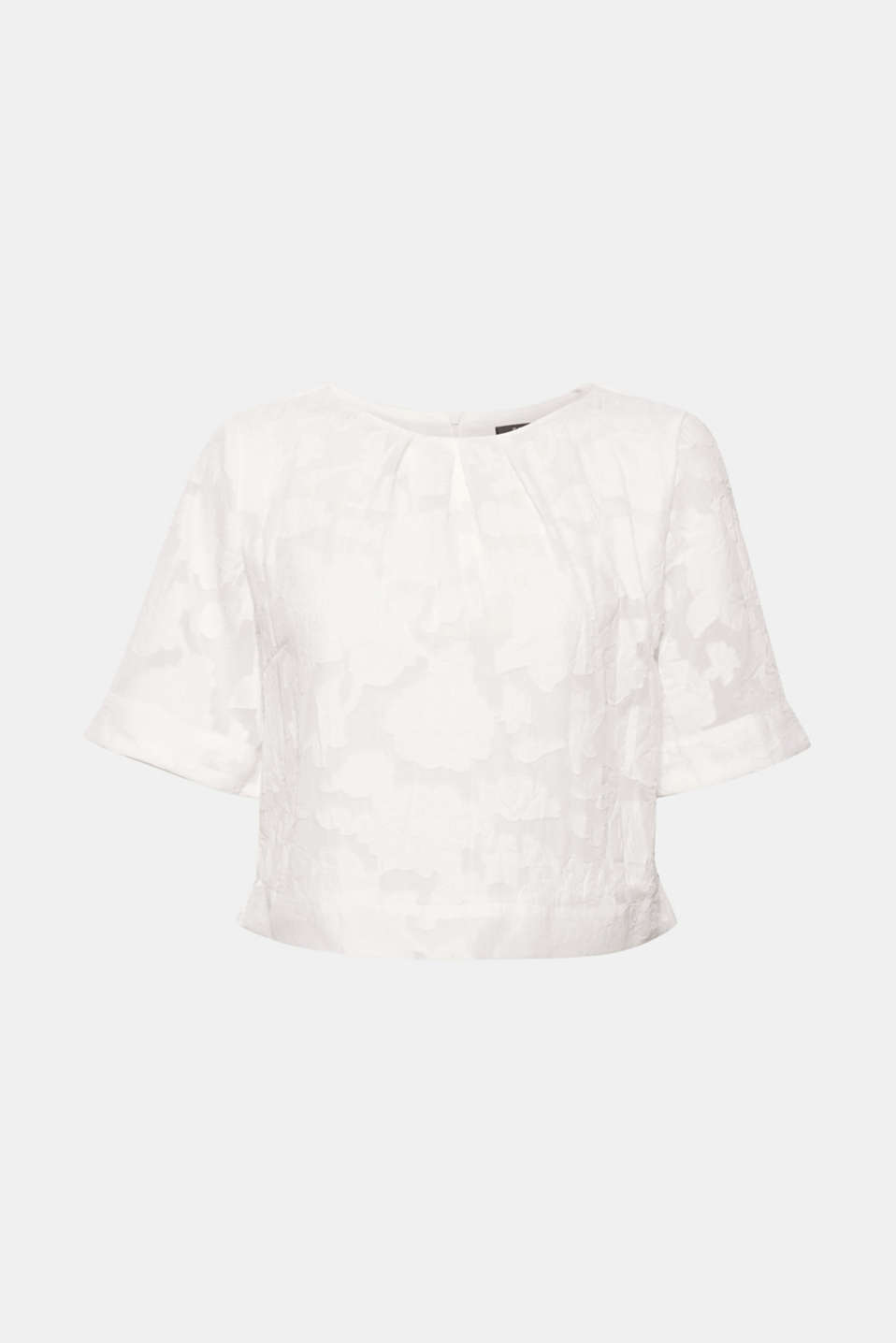 Fashion piece: the short, boxy cut and semi-sheer material with burnt-out flowers makes this blouse top irresistible!