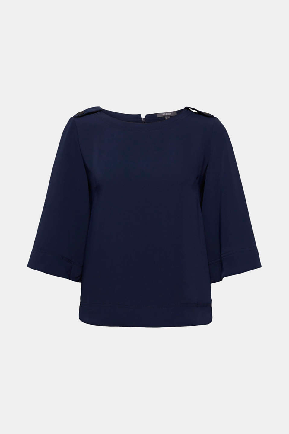 Spice up a skirt or trousers with this slightly boxy, flowing blouse with cropped, flared sleeves, contrast stitching and button-fastening epaulettes!