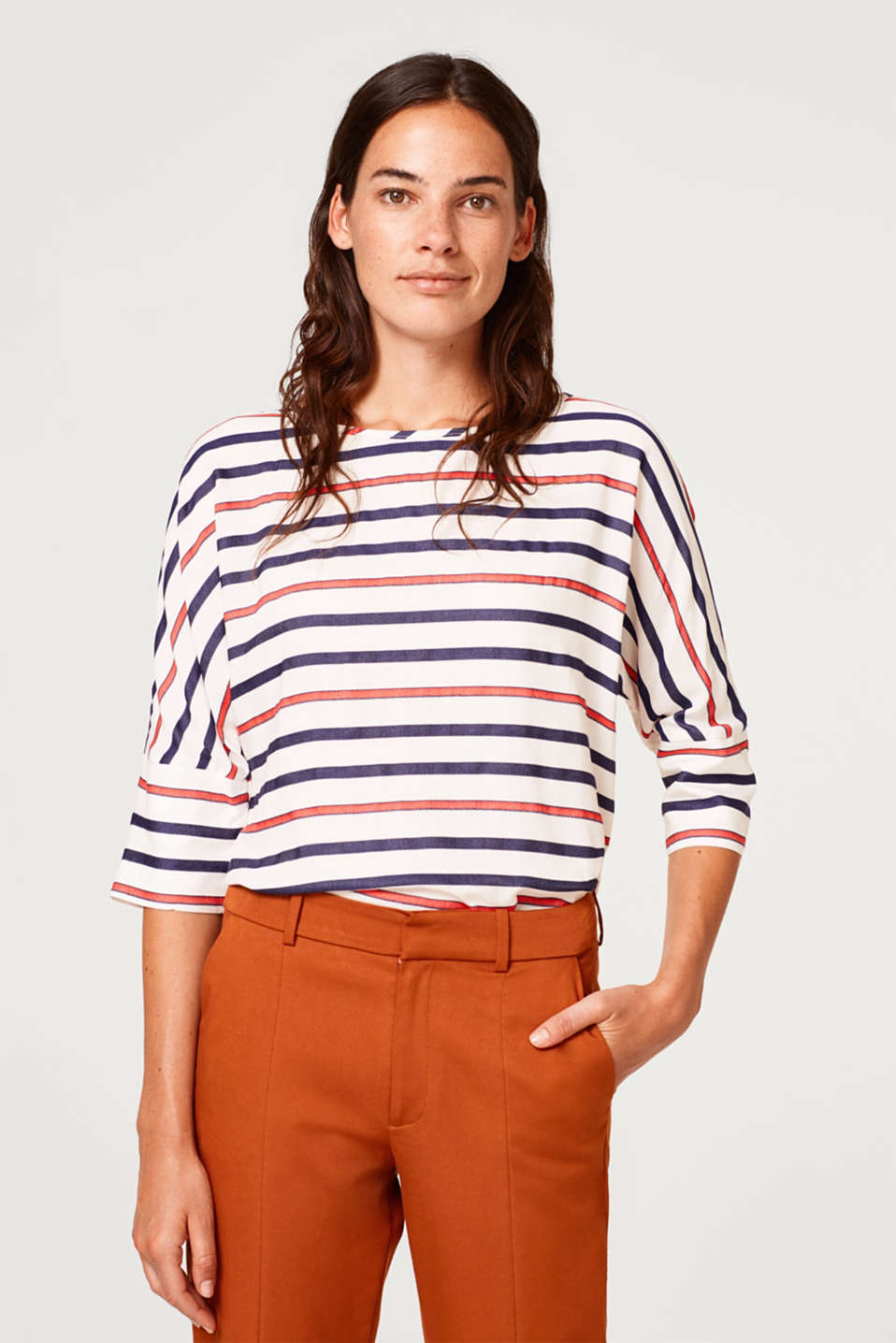 Esprit - Boxy blouse with multi-coloured stripes