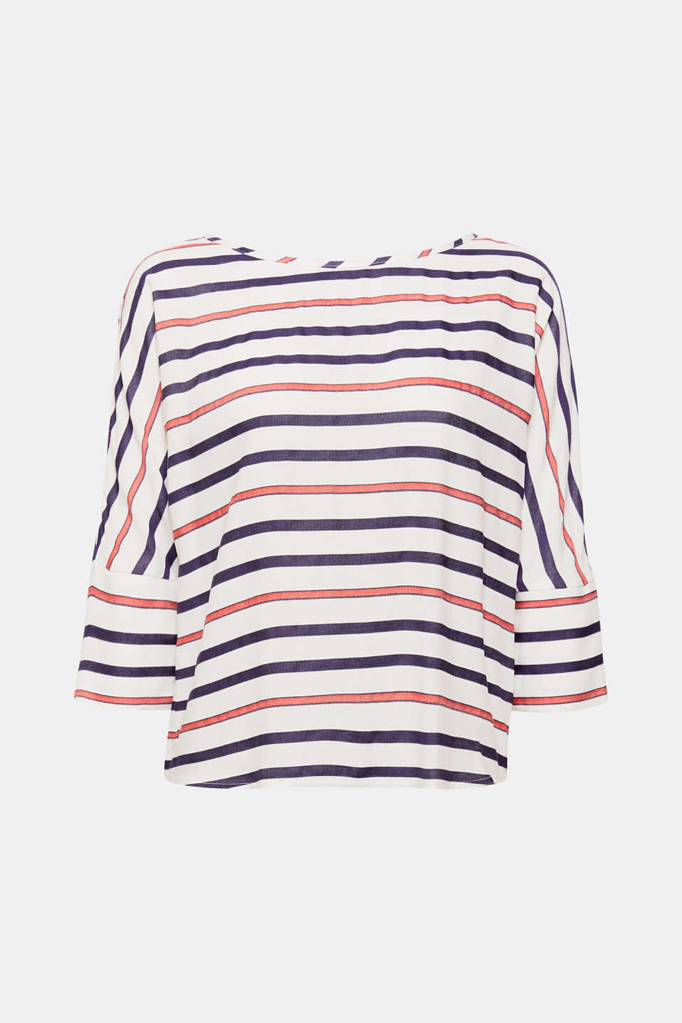 Cropped batwing sleeves and a bold striped pattern give this floaty, boxy blouse its modern look!