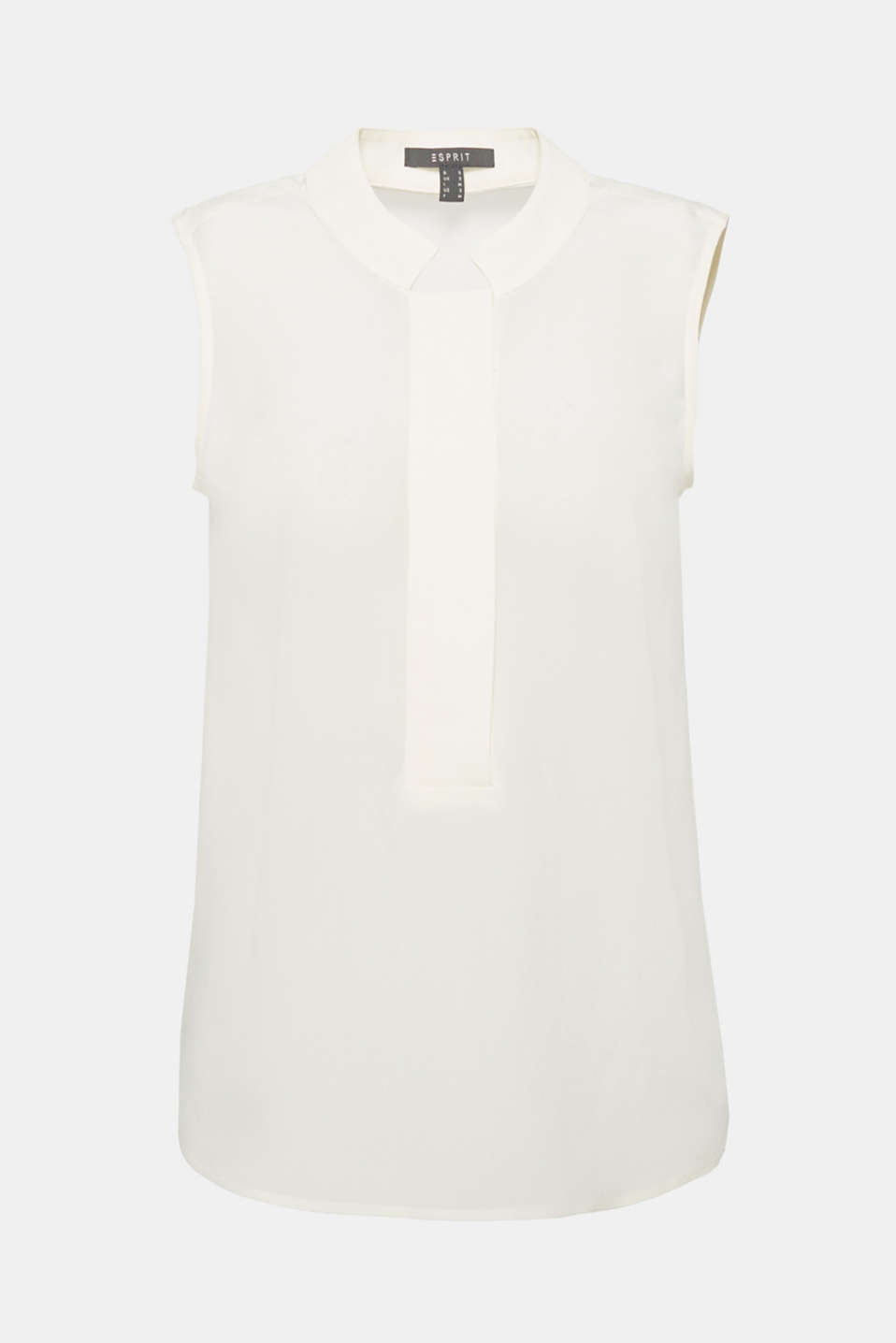 This sleeveless, loose-fit blouse in delicate pure silk with a band collar and a wide, concealed button placket is an elegant piece for lots of different occasions!