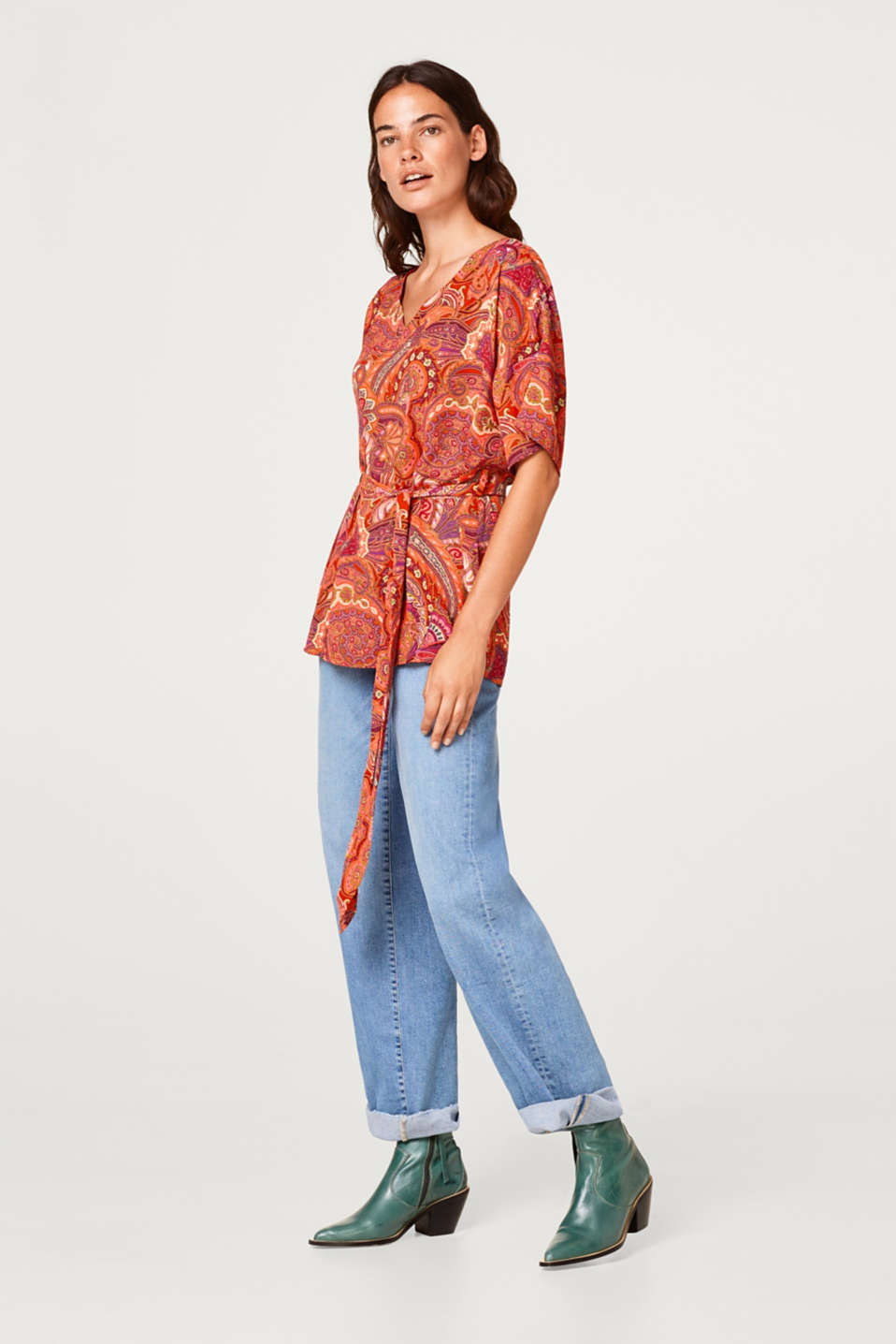 Esprit - Tunic blouse with a paisley print