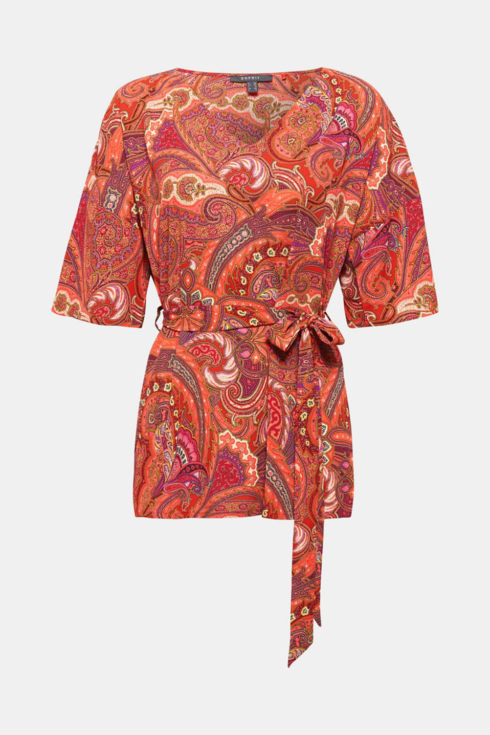 This elegant tunic blouse with a decorative paisley print, a large V-neckline and ties is an exceptionally eye-catching piece!