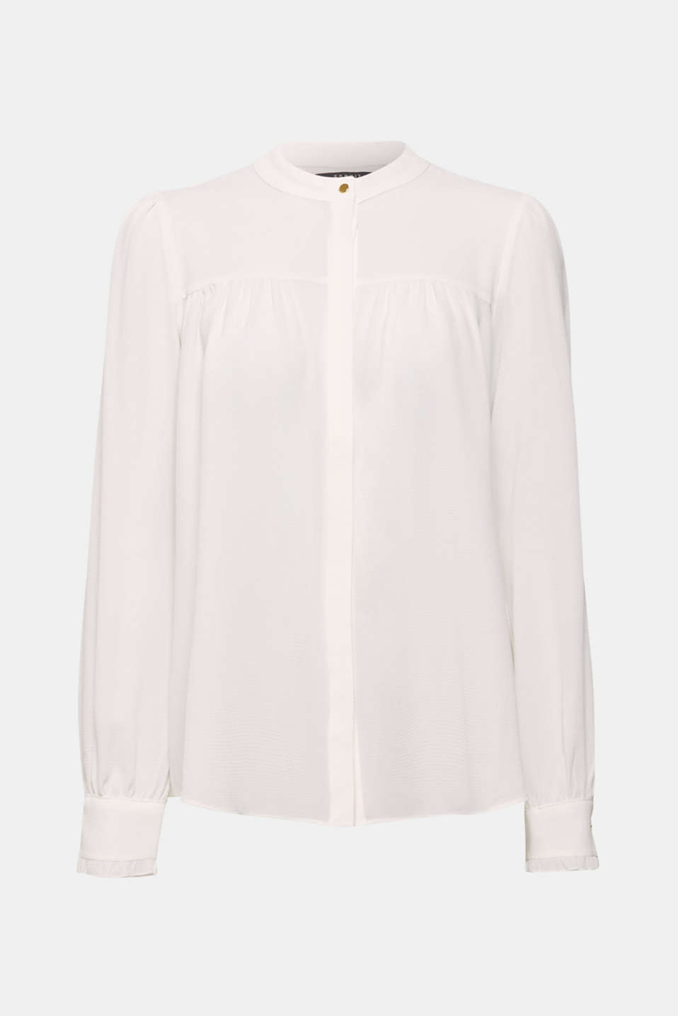 Gives your look a romantic flair: slightly see-through, textured blouse with a band collar, concealed button placket and frilled cuffs.
