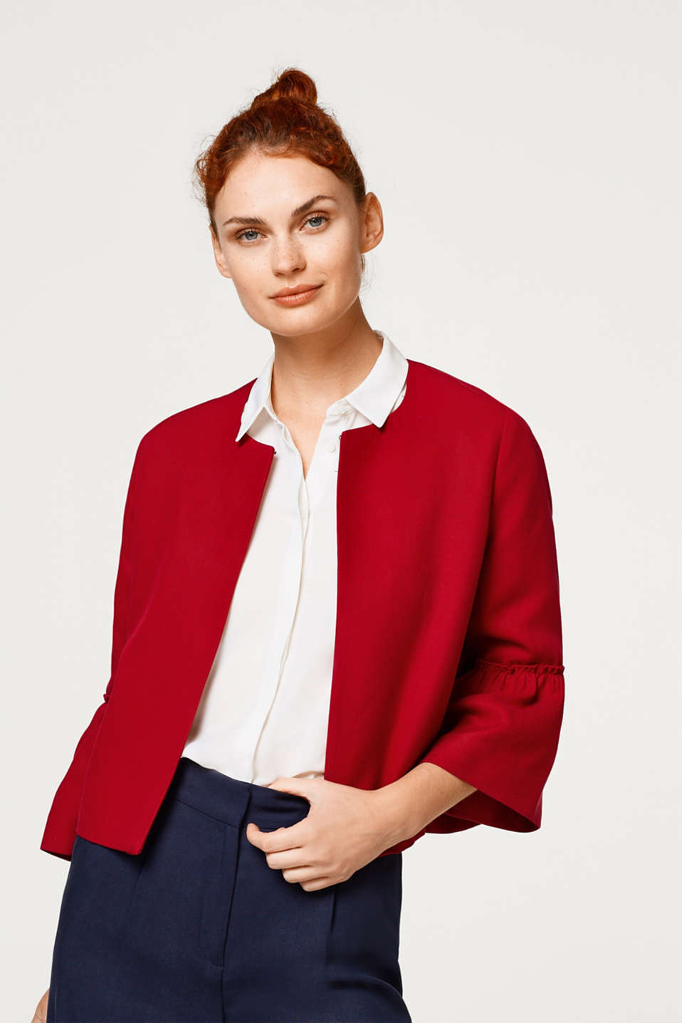 Esprit - Textured jacket with flounces