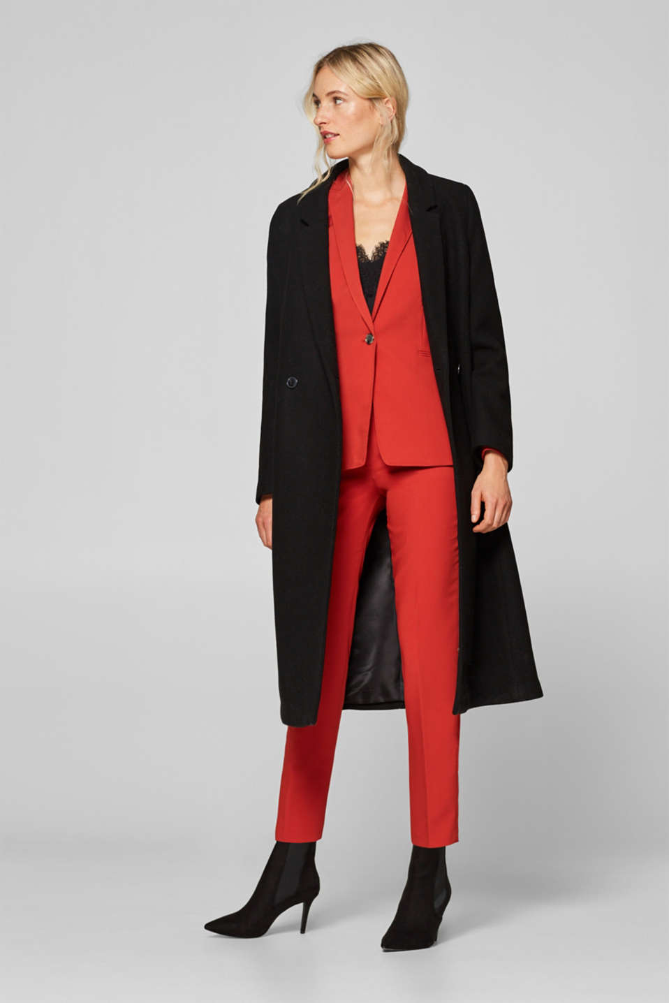 Mix + match blazer met twillstructuur