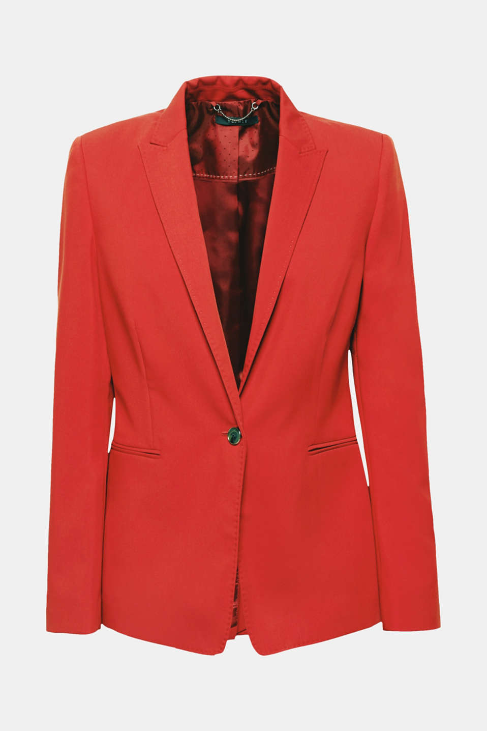 Can be worn with the matching trousers or on its own: the finely textured outer fabric in an on-trend colour and long, peaked lapel make this blazer look extremely fashionable.