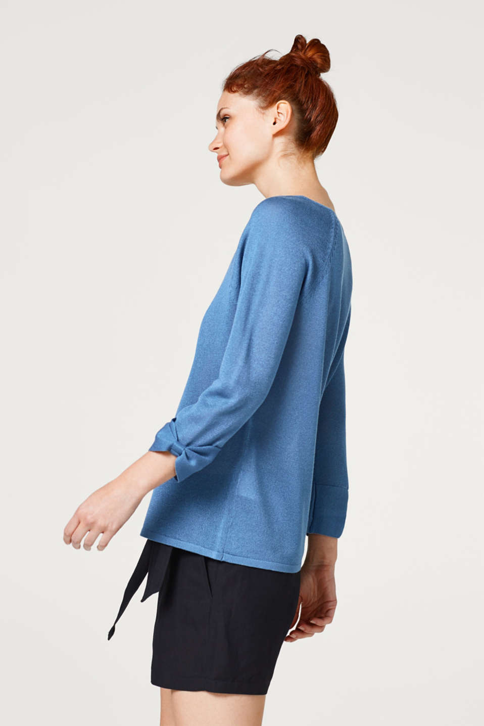 Esprit - Shimmering jumper with sleeve ties