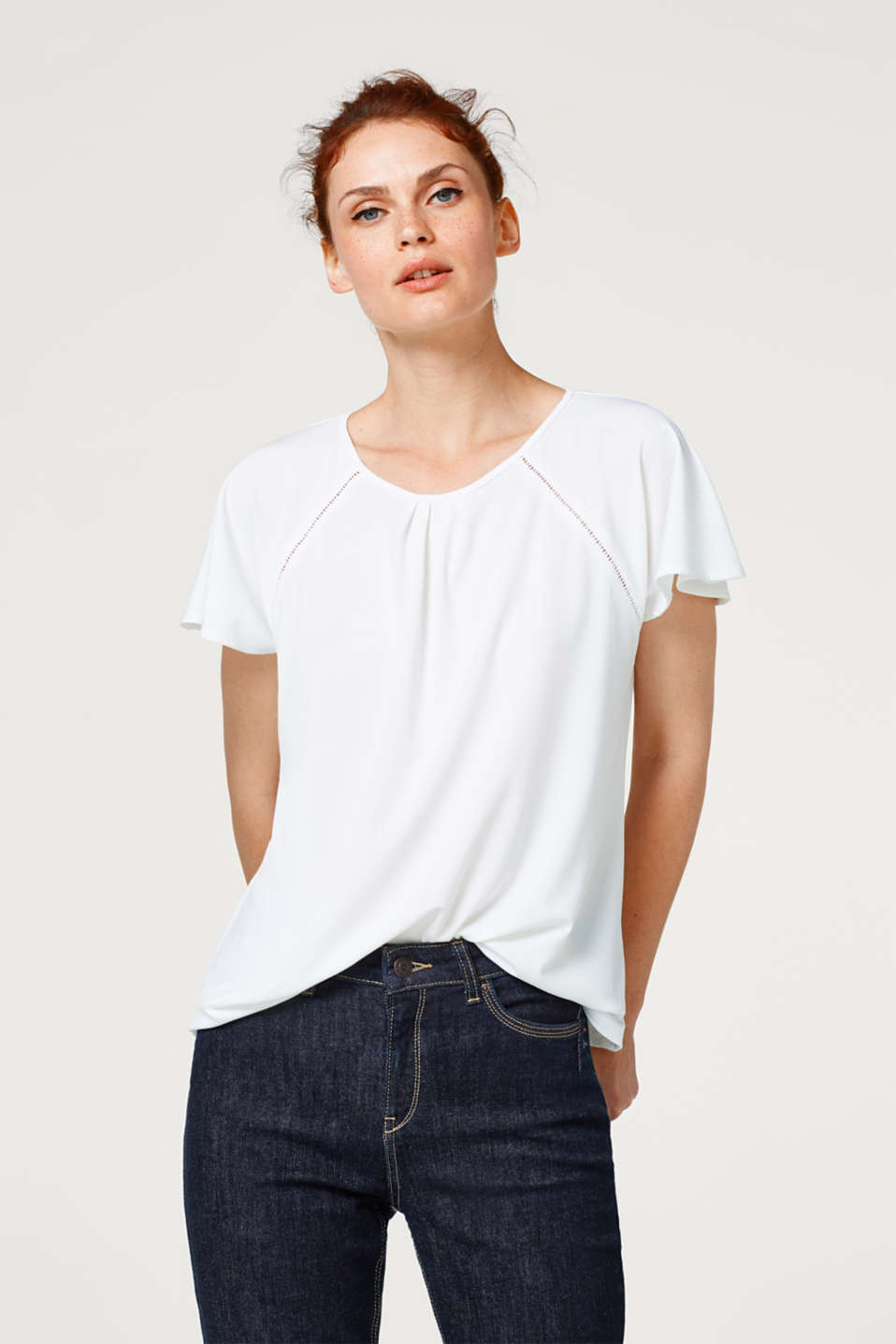 Esprit - Stretch top with an open-work pattern and cap sleeves
