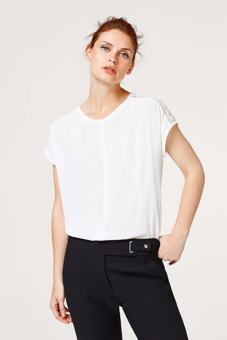 Esprit - Blouse top with texture and lace