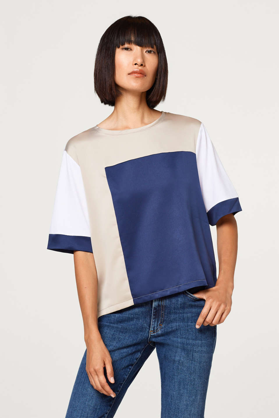 Esprit - T-shirt met elementen in colour block design