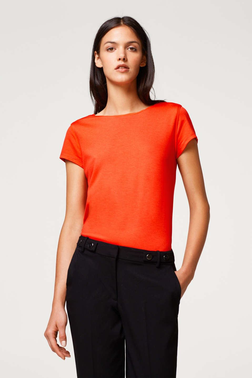 Esprit - Stretch jersey top with chiffon details