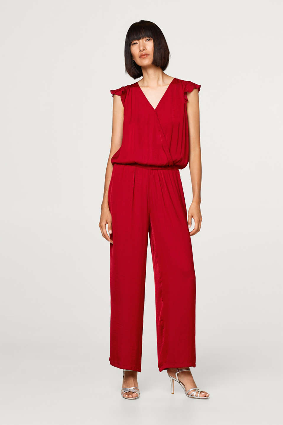 Esprit - Shimmery jumpsuit with a wrap-over effect
