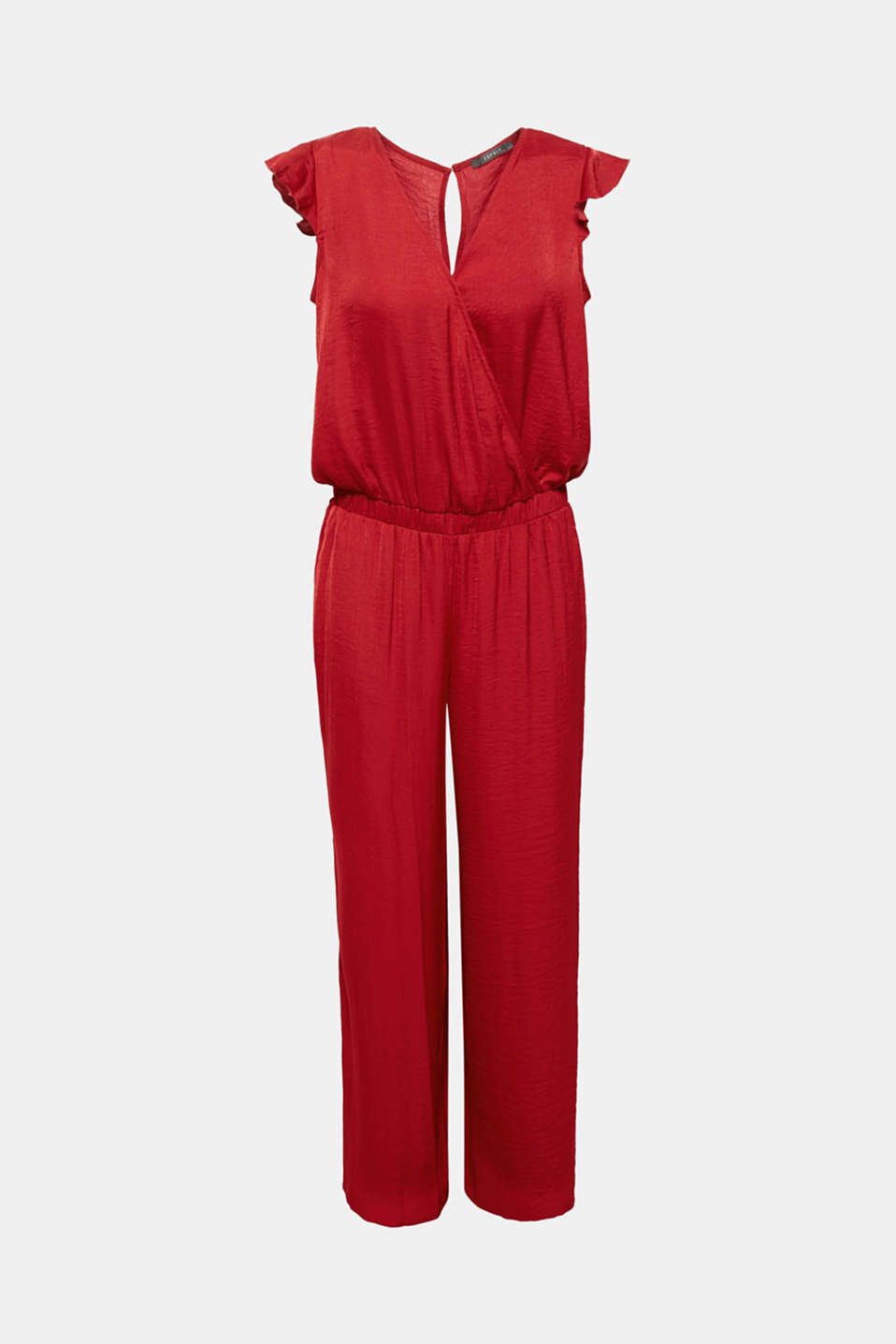 Simply pull it on and look seriously super chic: this jumpsuit features elegantly shimmery crushed fabric, which coordinates perfectly with the flowing, figure-skimming silhouette.