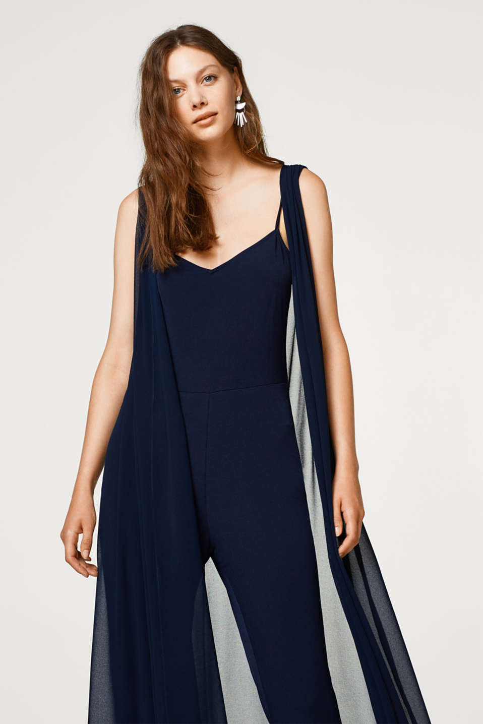 Esprit - Jersey jumpsuit with long chiffon waistcoat
