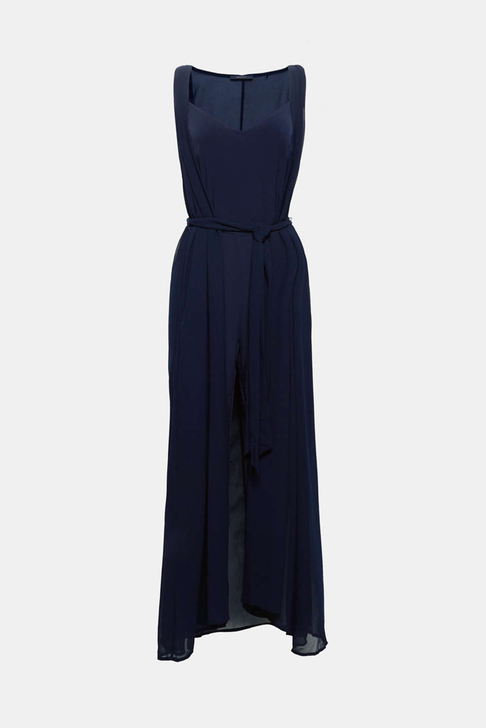 This jumpsuit in stretch jersey with a long waistcoat in sheer chiffon is a top highlight for special occasions!