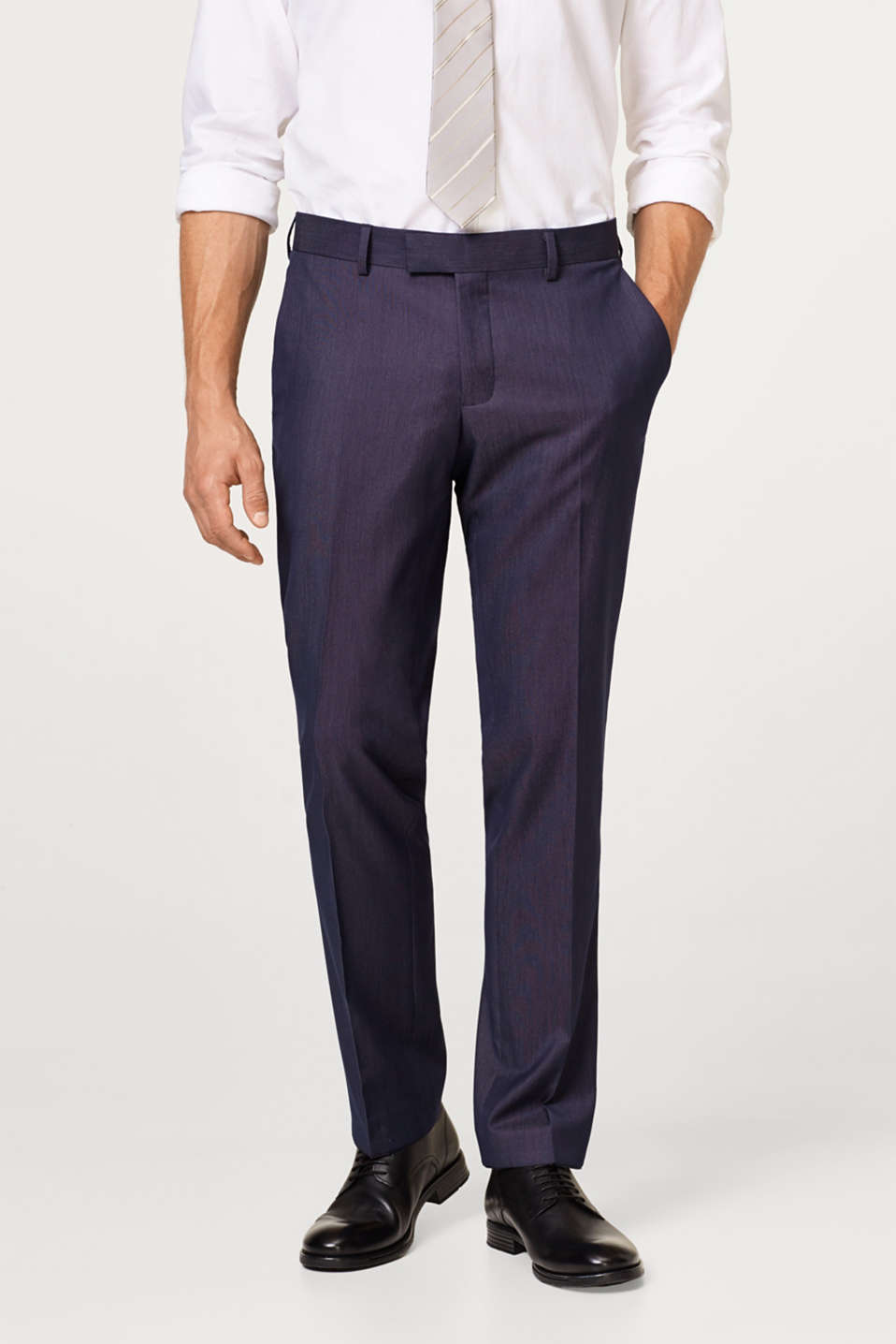 Esprit - DARK BLUE MELANGE mix + match: Trousers with waist pleats