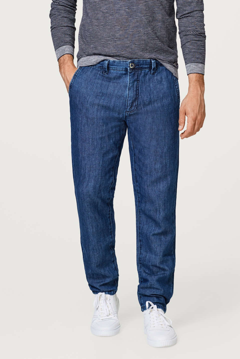 Esprit - Linen blend: denim chinos