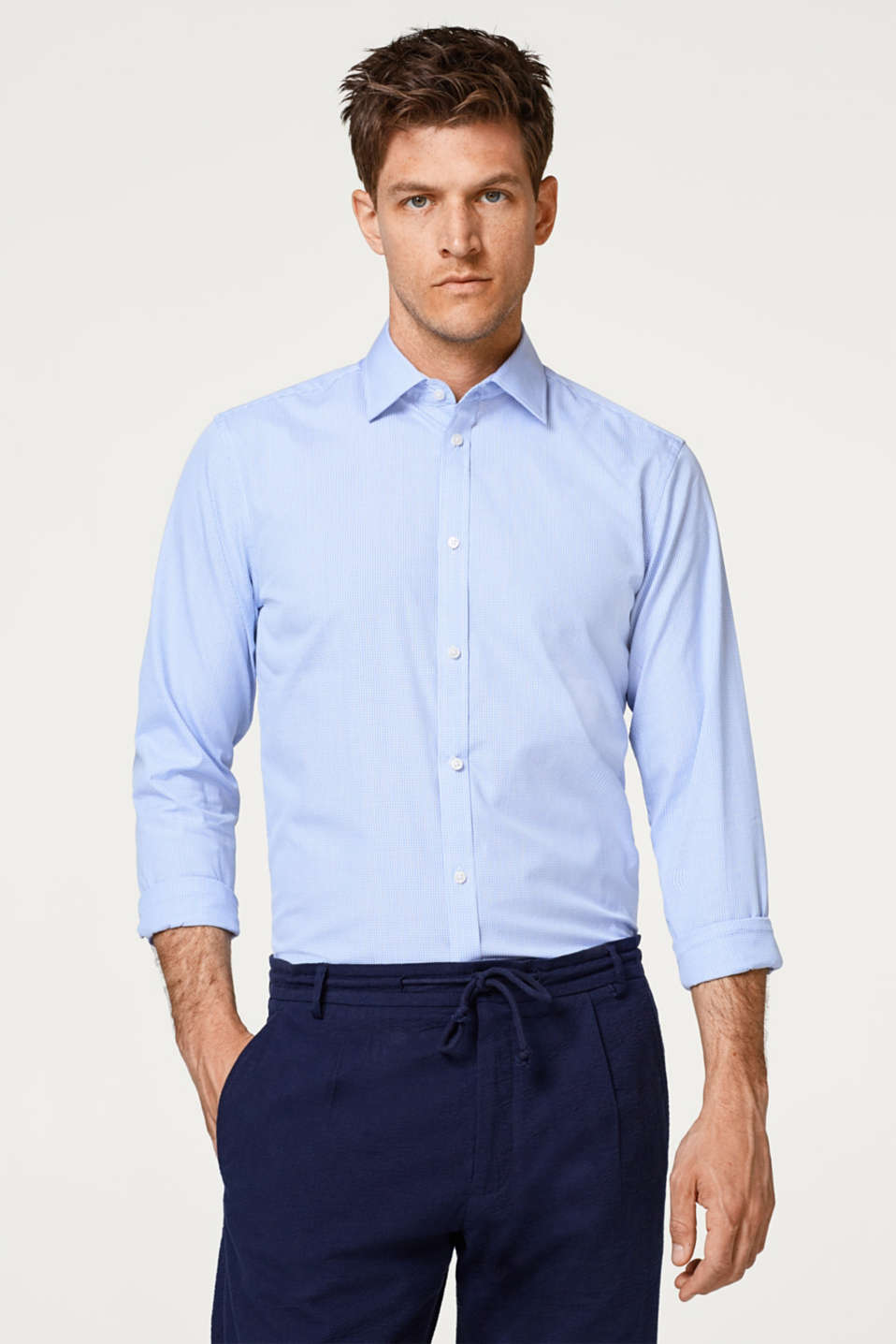 Esprit - Shirt with mini checks, made of 100% cotton