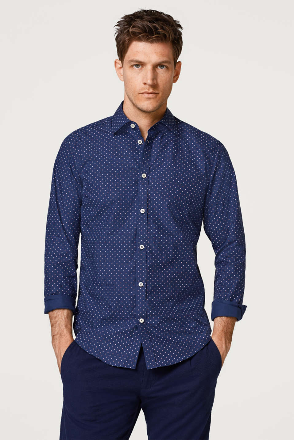 Esprit - Easy-iron print shirt, 100% cotton
