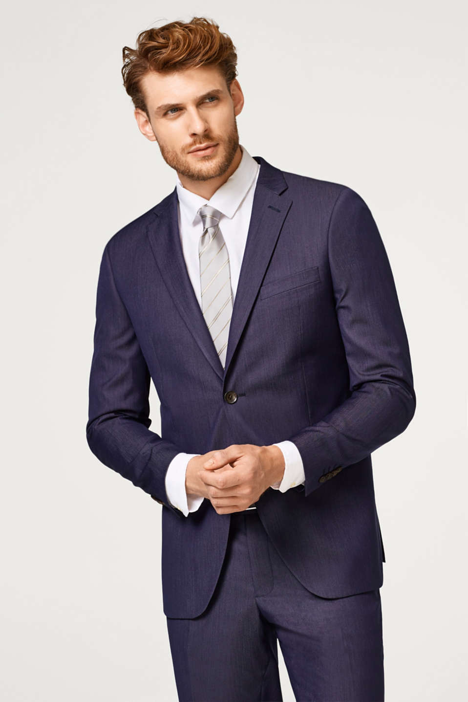 Esprit - DARK BLUE MELANGE mix + match: Tailored jacket with lapel