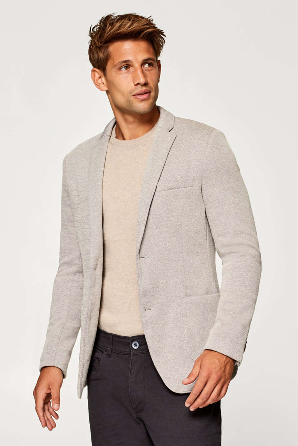 Esprit - Men's blazer in textured jersey