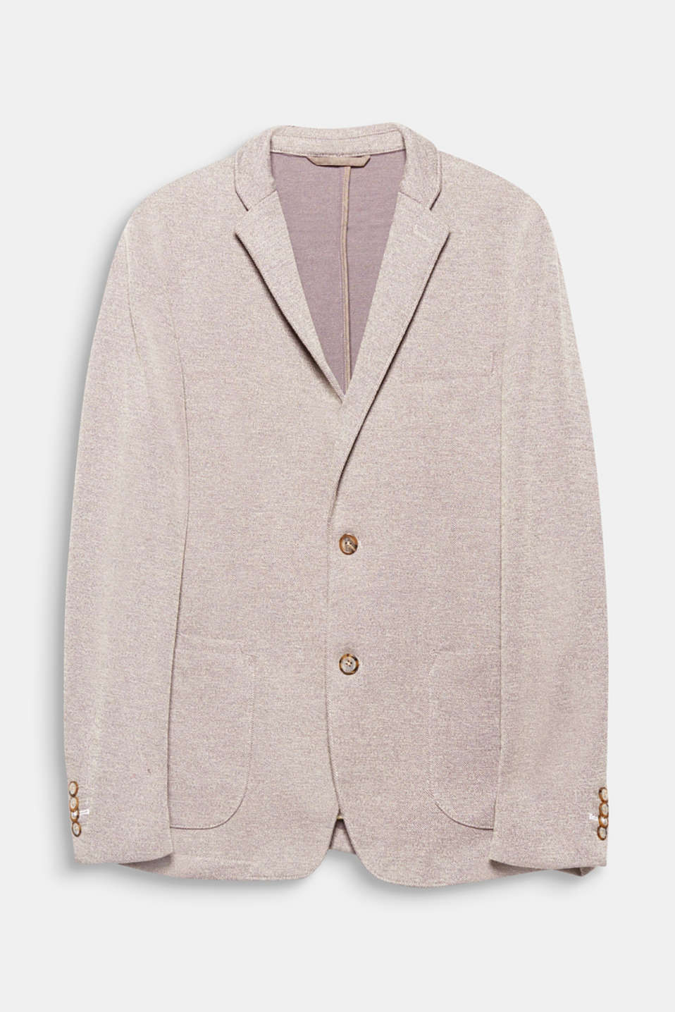 Create a sporty and smart look with this two-tone textured jersey blazer.