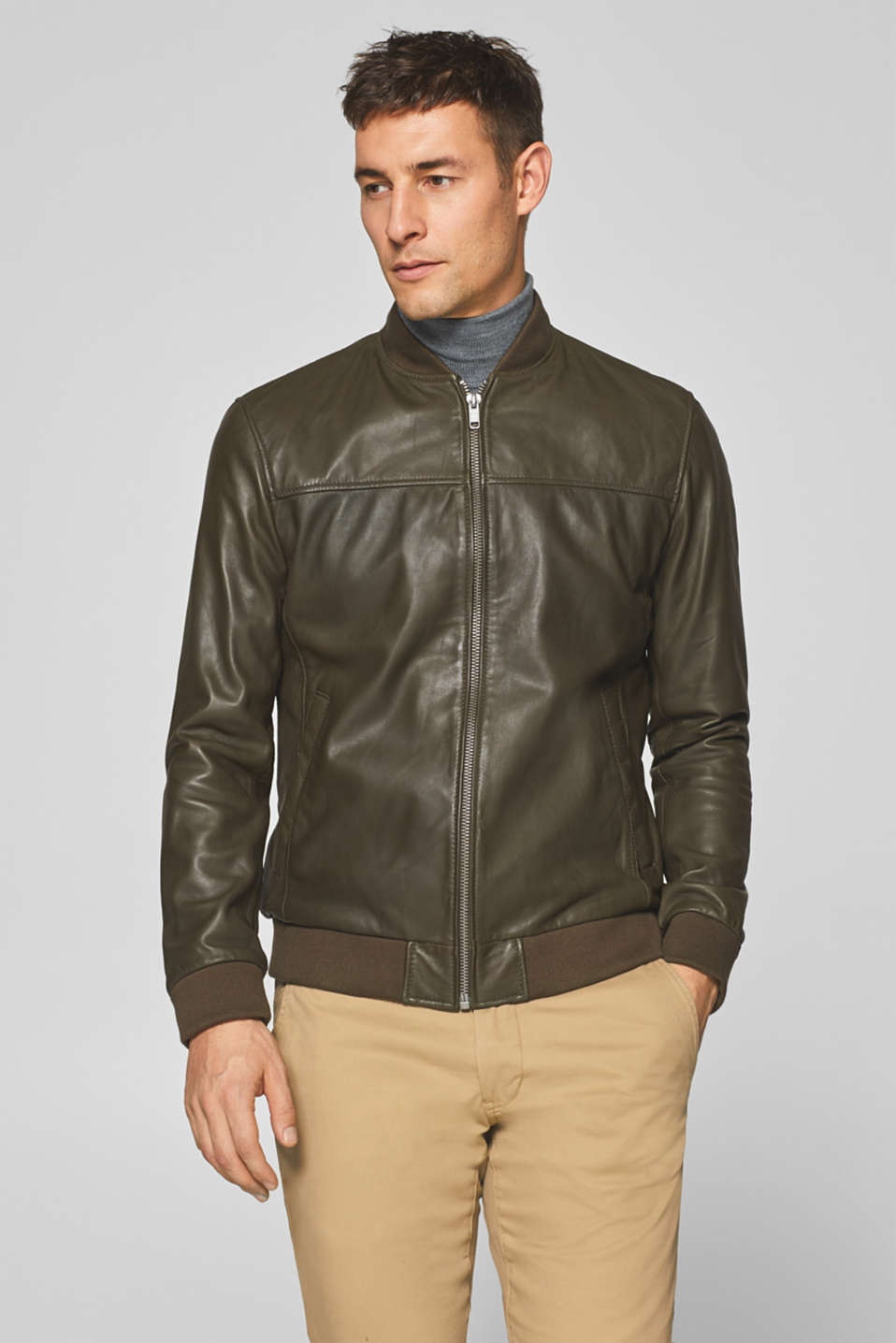 Esprit - Bomber jacket with knitted trims, in nappa leather