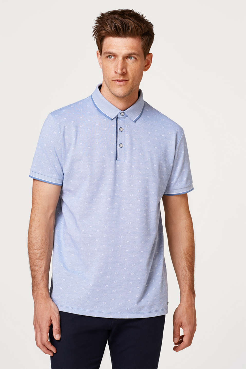 Esprit - Piqué polo shirt with a pattern, 100% cotton