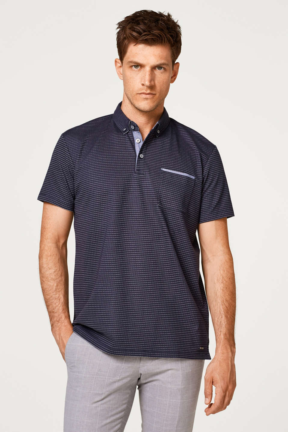 Esprit - Straight polo shirt with a button-down collar