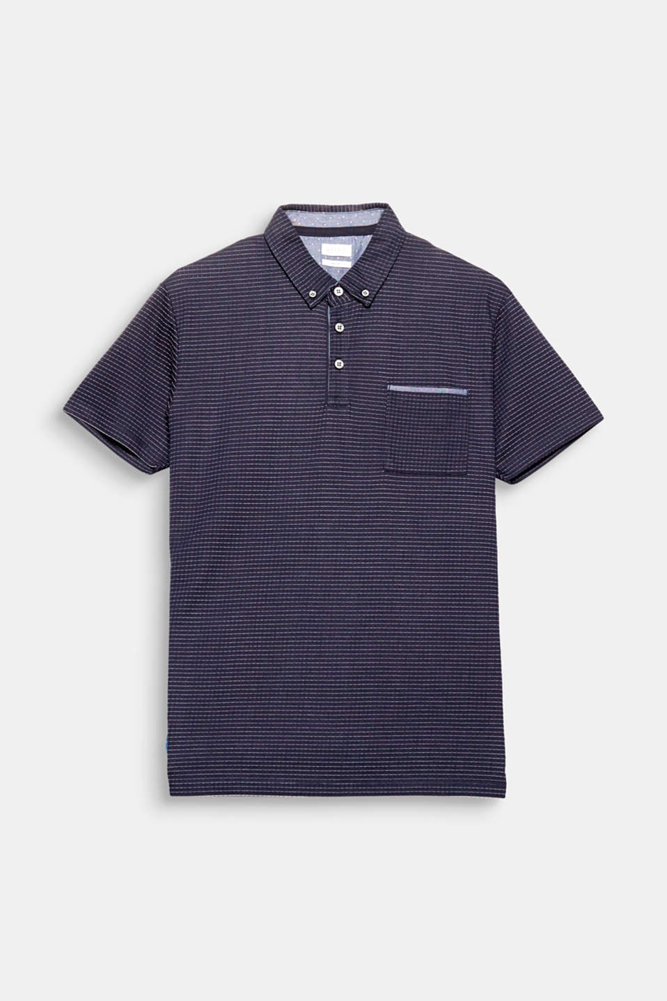 The fine grid texture and the button-down collar are fine details of this cotton blend polo shirt.