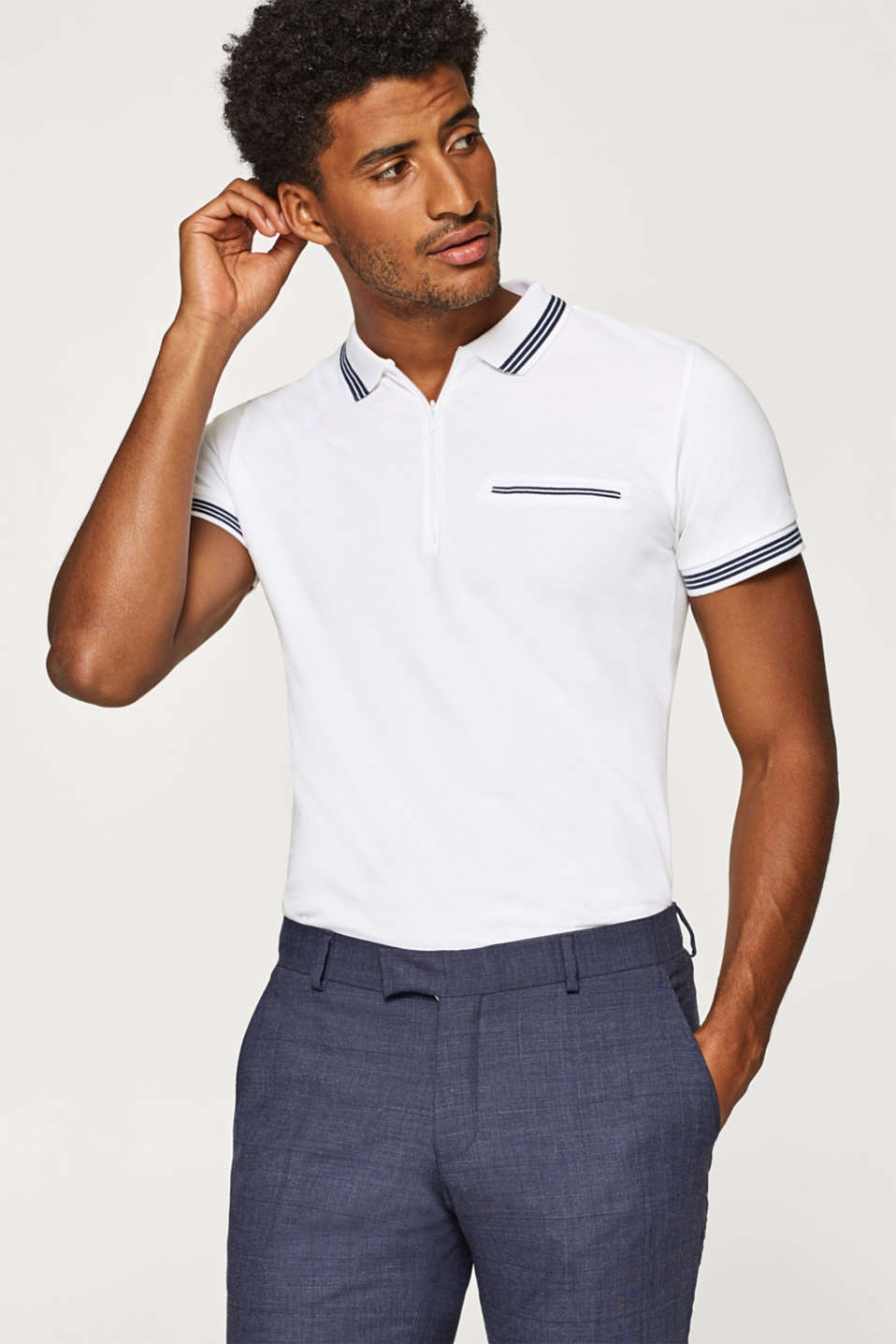 Esprit - Piqué polo shirt with a zip, 100% cotton