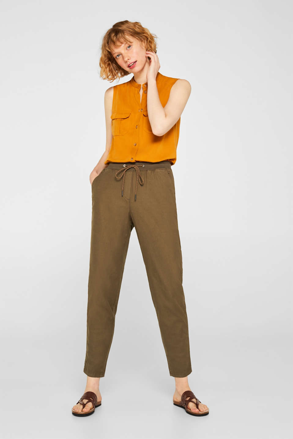 edc - Linen blend: Stretch trousers in a tracksuit bottoms style