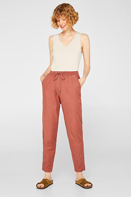 7ed253b8 Linen blend: Stretch trousers in a tracksuit bottoms style