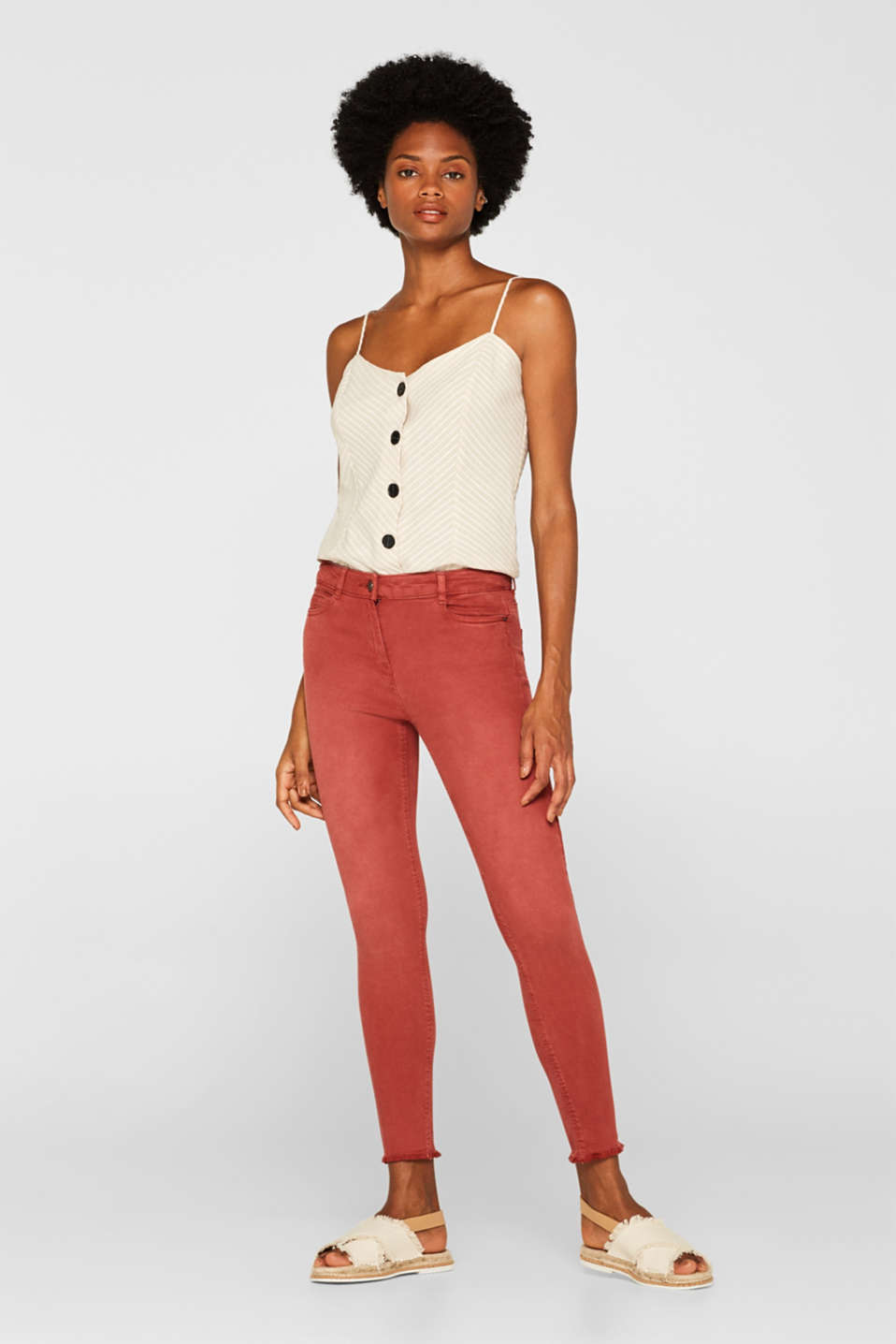 edc - Ankle-length stretch trousers with frayed hems
