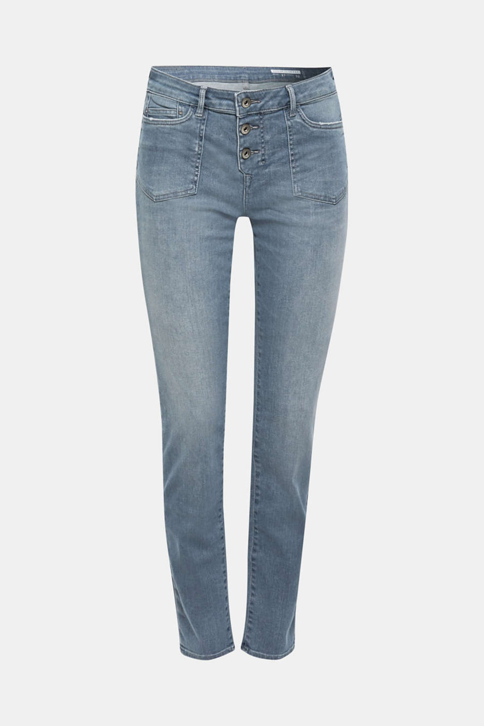 Jeans with a button placket and patch pockets, GREY MEDIUM WASH, detail image number 6