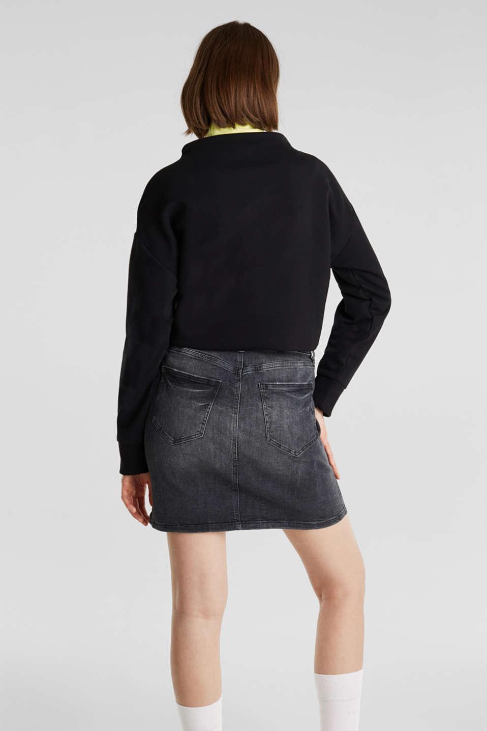 Stretch denim skirt with a zip, BLACK DARK WASH, detail image number 3