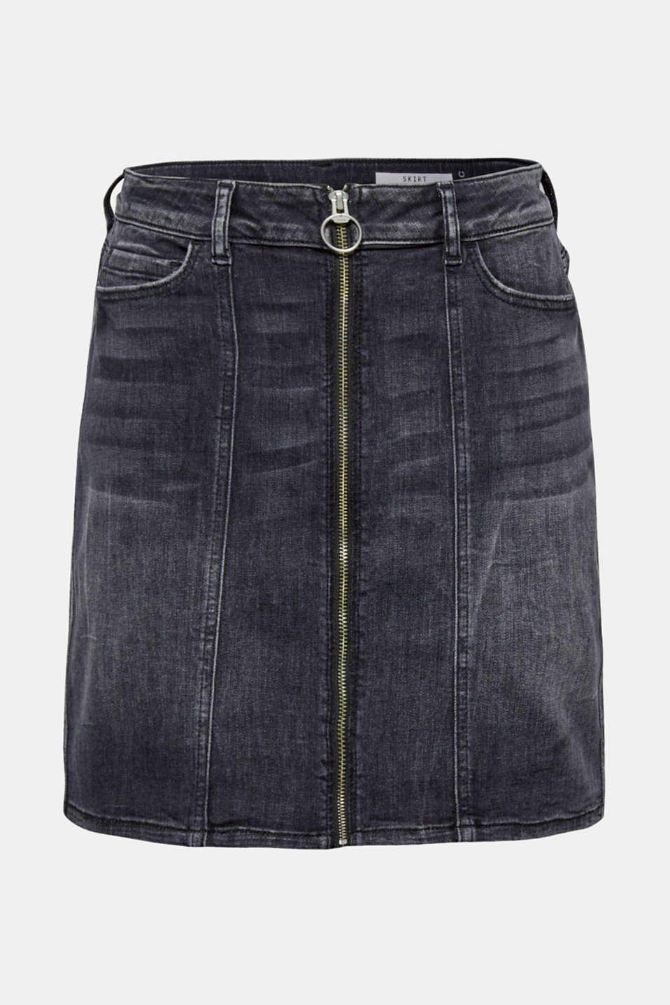 Stretch denim skirt with a zip, BLACK DARK WASH, detail image number 6