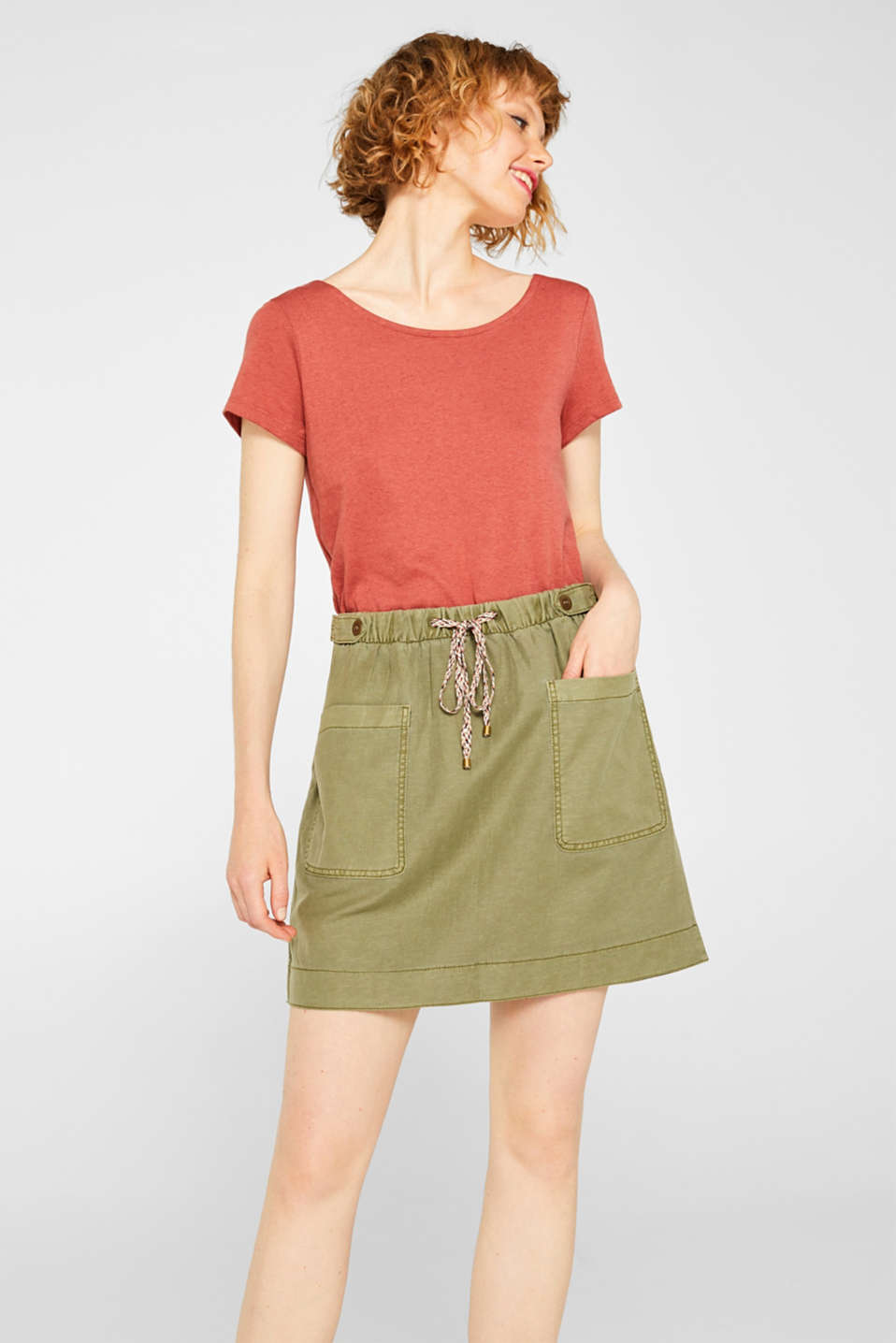 Linen blend: Utility-style stretch skirt