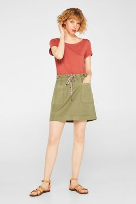 Linen blend: Utility-style stretch skirt, KHAKI GREEN, detail