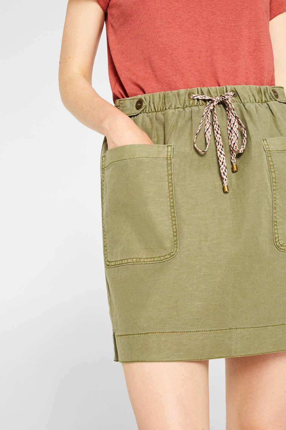 Skirts light woven, KHAKI GREEN, detail image number 2