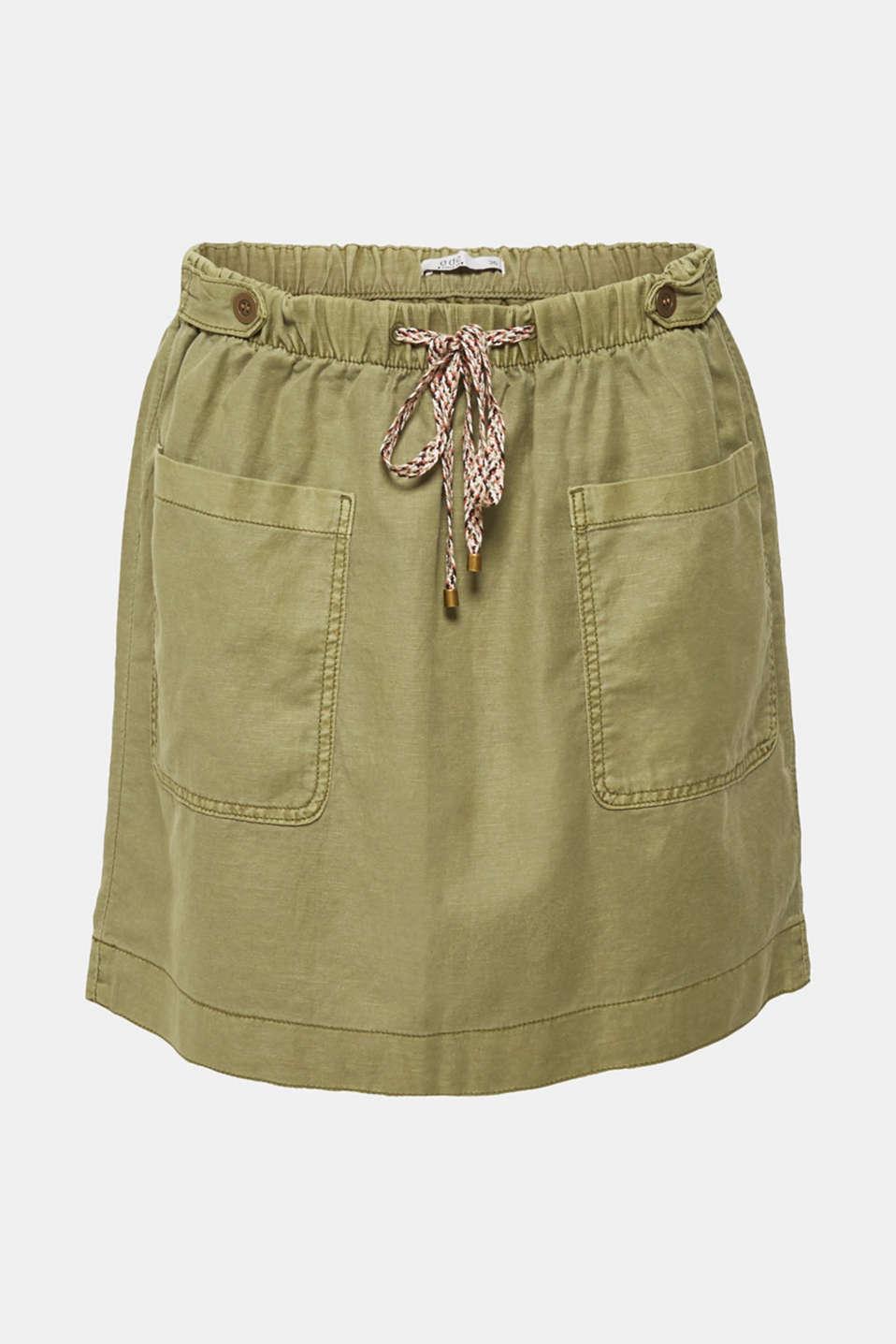 Skirts light woven, KHAKI GREEN, detail image number 5
