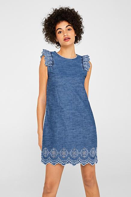 8c82e43935dbd3 Jeans-Kleid mit Lochstickerei, 100% Baumwolle · Blau