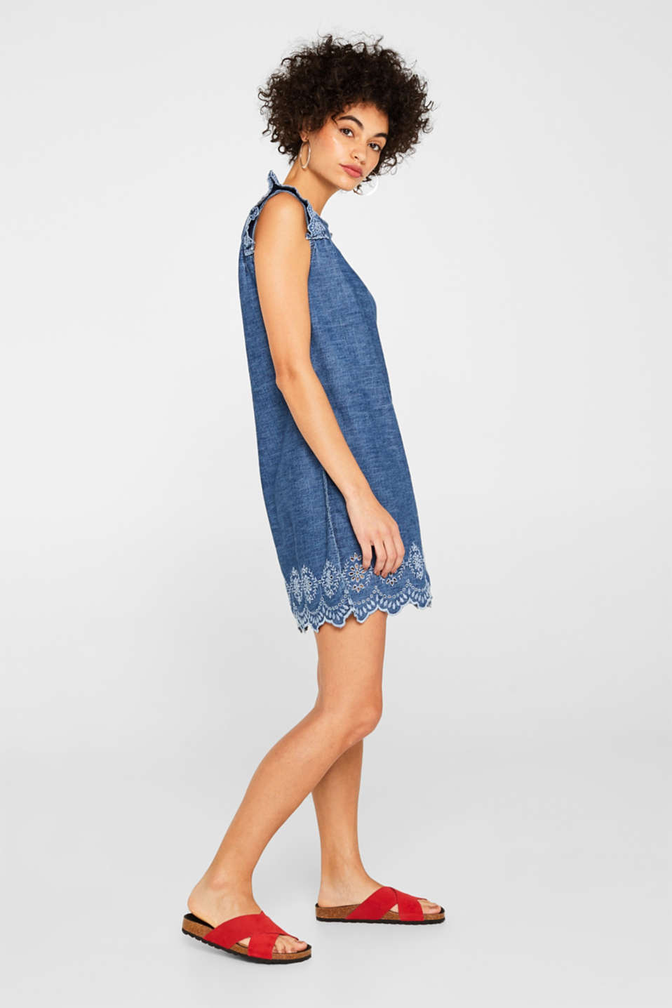 Denim dress with broderie anglaise, 100% cotton, BLUE MEDIUM WASH, detail