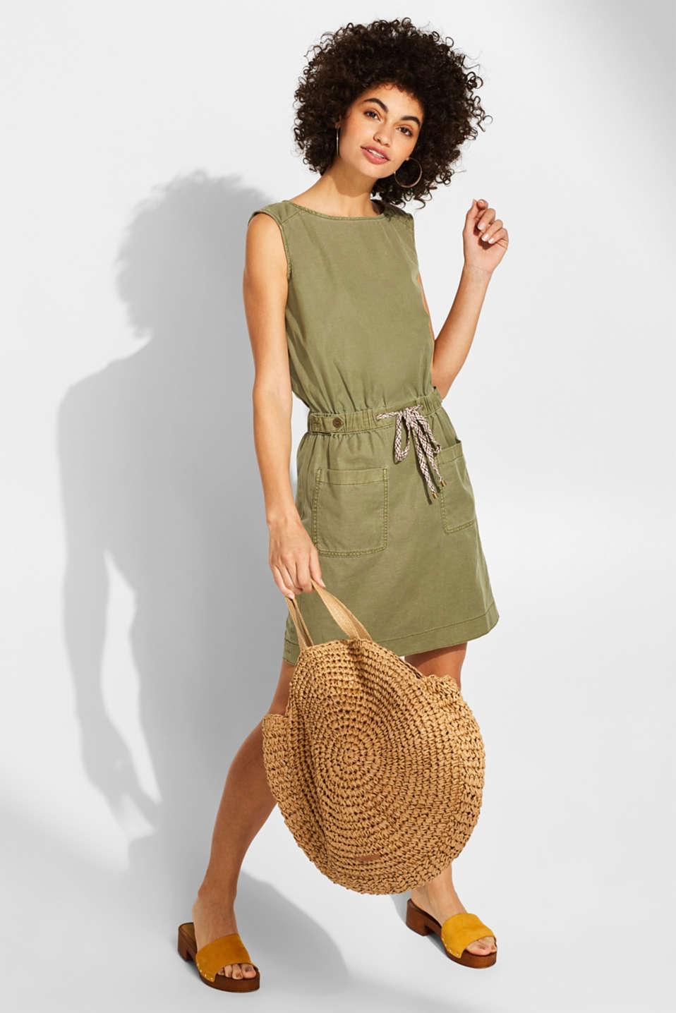 Dresses light woven, KHAKI GREEN, detail image number 1